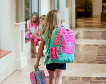Monogrammed Pink Dottie Backpack / Personalized Pink Polka Dot Book Bag / Monogrammed Girls Pink White Polka Dot Backpack / Back to School