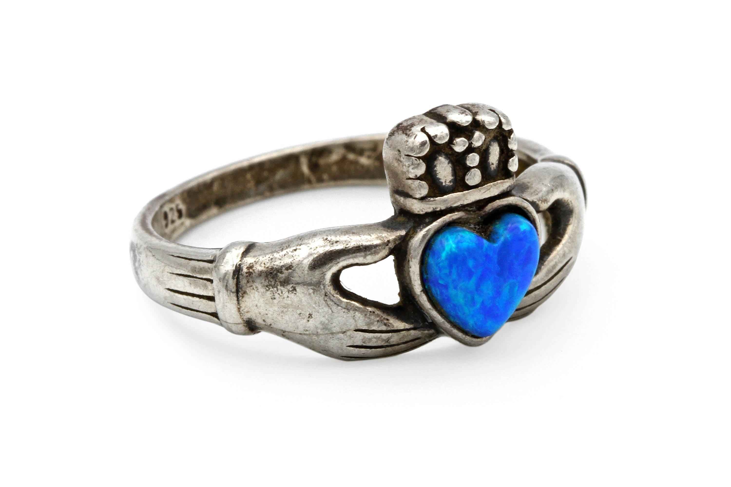 Sterling claddagh ring celtic irish ring blue lab opal ring zoom biocorpaavc Gallery