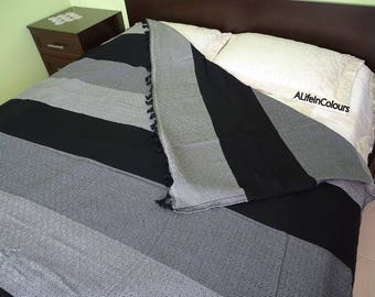 Black and gray striped Turkish diamond patterned double bed cover, cotton blanket, bed spread, flat sheet, sofa cover.