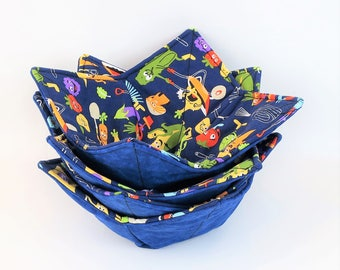 Microwave Bowl Cozy, Hot and Cold Cozy, Fabric Bowl, Pot Holder, Soup Bowl Holder, Fruit Bowl, Kitchen Accessory, Gift Idea,  Bowl Holder