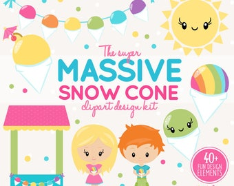 INSTANT DOWNLOAD - snowcone clipart and snowball stand maker