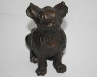 Unique Vintage Brass 3 Headed Dog Figurine