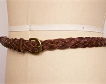 Vintage Lands' End Braided Brown Leather Belt / size 38 large-xl