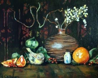 """Fine Art 9 X 12 Original Still Life Oil Paint """"Oranges and Little Bird"""""""