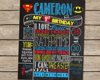 Multicolored Chalkboard Birthday Poster Sign for 1st Birthday Party - Customized Custom Printable File - Super Hero First Birthday