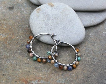 Sterling Silver Hoops, 1/2 inch hoops, Blue Brown, Oxidized Silver,Small Hoops, Wire Wrapped Hoop, Stone Hoops, Earth Tones, Boho Jewelry