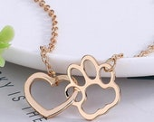 Pretty Gold OR Silver Interlocking Heart and Paw Print Pendant Necklace | Perfect for Dog and Cat Lovers