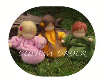 Waldorf dolls, Small Dolls,Rootchild in  various colours, STRAIGHT HAIR