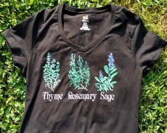 Black V-neck Herb shirt