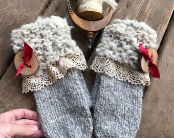 Grey knitted mittens made with hand spun yarn with lace and wooden button Made in Canada