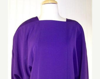 On Sale 50% OFF 80s Vintage Daymor Couture Purple Cocoon Batwing Dress Sz 10