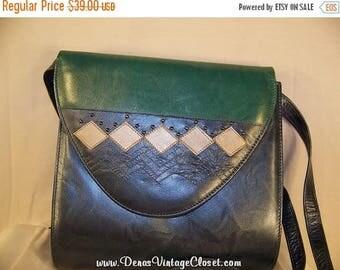 On Sale 50% OFF Vintage Margaret J Leather Shoulder Bag Purse Color Block Spain