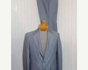 On Sale 50% OFF NWT Vintage Men's Blue Pagano West Tailored Apparel Western Suit Jacket Blazer Coat Pants Size 38R  Made in Usa