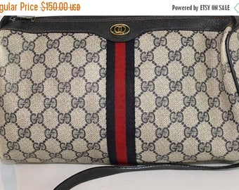 On Sale 50% OFF Vintage Gucci Accessory Collection Crossbody Shoulder Bag Purse Navy Red Stripe