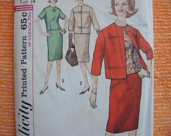 Vintage 1960s Simplicity sewing pattern 5144 misses suit and overblouse size 14