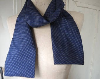 Vintage 1970s polyester scarf navy blue with tiny tan polka dots 4 x 50 inches