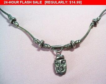 Silvertone pendant necklace, face pendant, hippie, boho