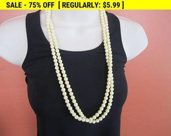 cream bead necklace for craft repurpose, vintage beads