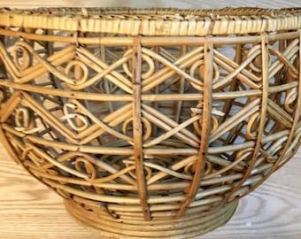 Mid Century Basket, Bohemian Basket or Plant Holder; Retro Storage, Beautiful Vintage Basket, 1970s Basket