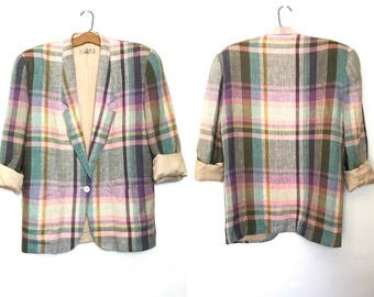 Vintage Liz Claiborne Blazer 100% Linen Jacket Plaid Blazer Slouchy Oversized Blazer 90s Jacket 90's Clothing Boxy Shoulder Pads Large G2