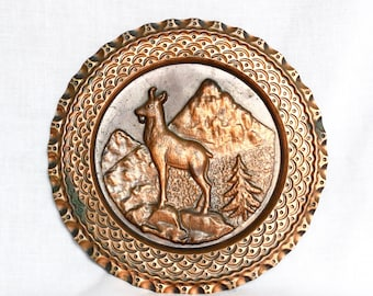 Vintage copper plate...embossed copper plate...mountain goat...hanging copper tray.