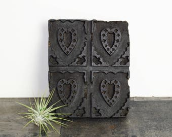 Vintage textile print block...hand carved wood block...textile stamp...carved hearts...heart art...bohemian...Indian...India.