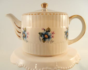 Vintage Teapot Ellgreave Wood & Sons England Blue Floral Cottage Chic Ironstone 4-6 Cup Shabby Cottage Chic