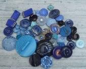 Lot of Vintage glass plastic Buttons Blue