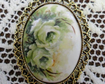 Vintage White Roses on Milk Glass Pin Brooch 1970s Gold Tone Filigree Edge Flowers Leaves and Greenery Elegant & Pretty!