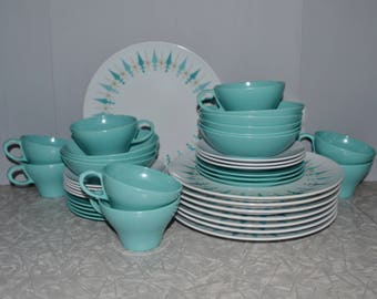 Texasware Turquoise Diamond Dinnerware Set of 41 ~ Turquoise Dish Set ~ Melmac & Dinnerware sets | Etsy