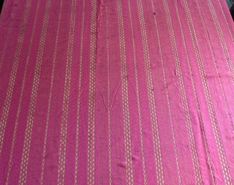 Vintage shower curtain Raspberry /Dark Pink with Stripes,Waves, diamonds, multiple patterns , Lacey fabric, Opaque