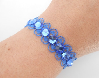 Blue lace and Crystal bracelet
