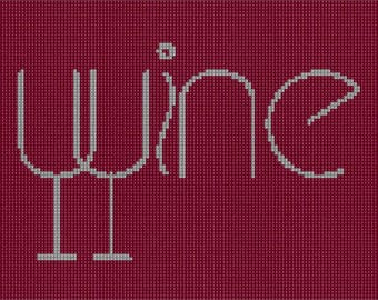 Needlepoint Kit or Canvas: Wine Spelled 2
