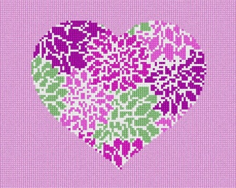 Needlepoint Kit or Canvas: Heart Floral