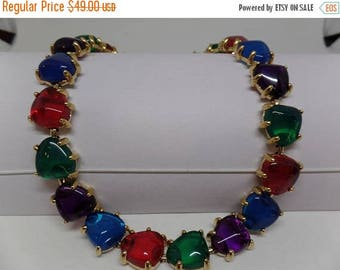 ON SALE Gorgeous Vintage Jewel Tone Cabochon Necklace