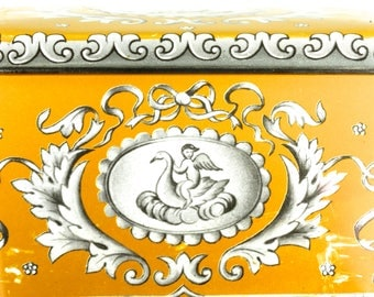 Sweet Little Feminine Yellow and White English Tin Container - Swan Cupid Angel