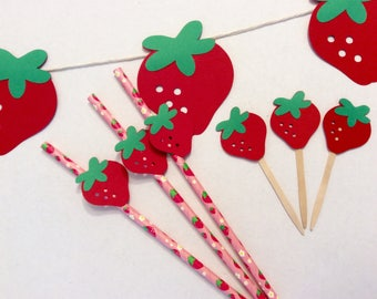 strawberries, strawberry shortcake, strawberry banner, swimming party, summer party, picnic party, tutti frutti, strawberry cupcake toppers