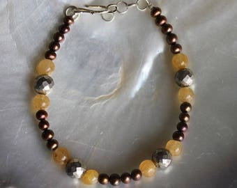Faceted white Pyrite and aventurine stone bracelet