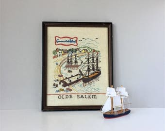 Olde Salem Crewel Picture, Vintage Bucilla Embroidery, Crowninshield Wharf Scene, Colonial America Series, Framed Nautical Picture