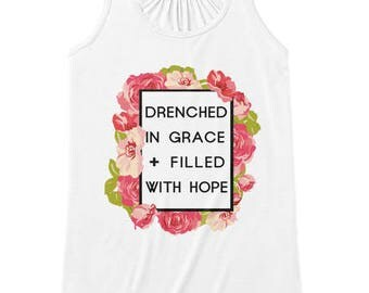 Drenched Grace & Hope, Faith Scripture Tank Top, Women Workout Apparel, Illustrated Faith Christian T-shirt, Fitness Gift for Her