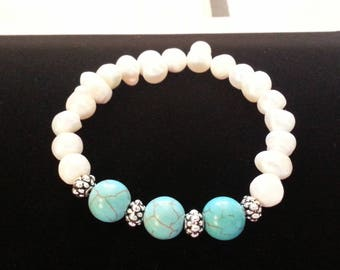 Turquoise Beads and Freshwater Pearls Silver Stretch Bracelet