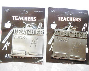 2 Silverplated Teachers Are The Difference Blackboard Key Rings Key Chains
