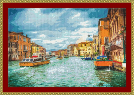 Boats On The Grand Canal Cross Stitch Pattern /Digital PDF Files /Instant downloadable