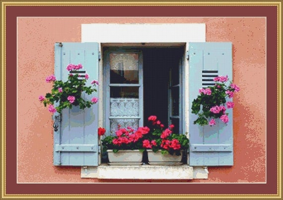 Window With Flower Boxes Cross Stitch Pattern /Digital PDF Files /Instant downloadable