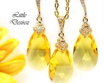 Yellow Jewelry Set Yellow Necklace & Earrings Swarovski Crystal Earring Bridesmaid Earrings Lemon Zest Canary Yellow Sunshine Yellow LT32JS