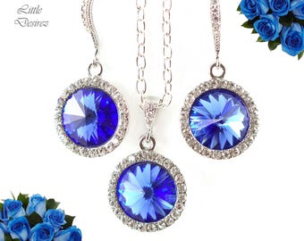 Sapphire Blue Jewelry Bridal Earrings & Necklace Set Swarovski Crystal Rivoli Earrings Bridesmaid Gift Wedding Jewelry Sparkly Set SP34JS