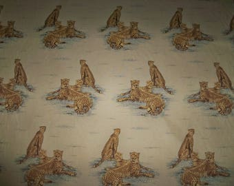 KRAVET LEE JOFA Jaguar Cheetah Tapestry Fabric 9  Yards Cream Beige Gold Brown Blue