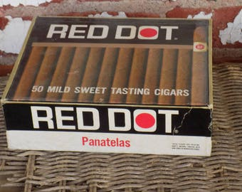 One Cardboard Red Dot Cigar Box for Crafting Projects B22