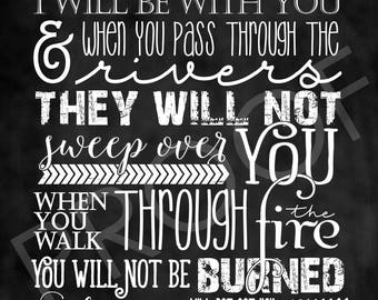 Scripture Art - Isaiah 43:2 ~ Chalkboard Style