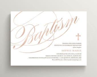 Baptism Invitation \ Girl Baptism \ Boy Baptism \ Rose Gold (CR32)